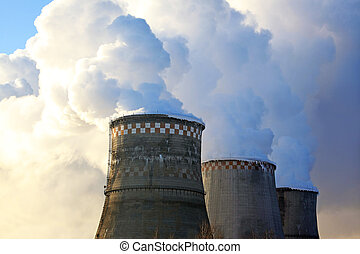 Cooling Towers of a Power Plant with Steam  and Sky