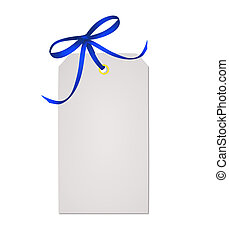 Card note with blue ribbon bow isolated on white background