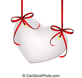 Heart valentine card with red ribbon bows isolated on white background