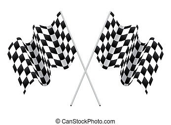 Checkered flags isolated on white