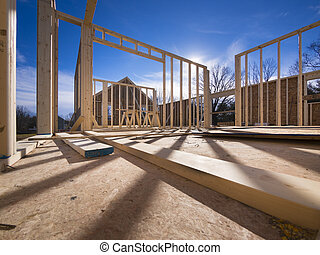 New house framing construction - New house framing with...