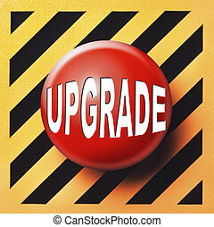 Upgrade button in red over an orange and black background