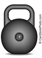 Weight - Black kettlebell on white background - blend only