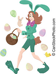 Girl in Bunny Costume Vector