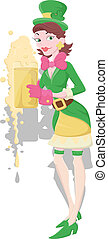 Leprechaun Girl with Beer - Creative Conceptual Artistic...