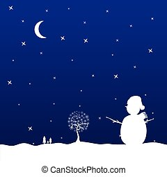christmas eve with snowman vector illustration