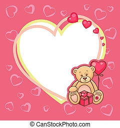 valentine day card with teddy - Illustration of Cute...