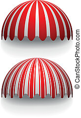 awnings - detailed illustration of round striped awnings