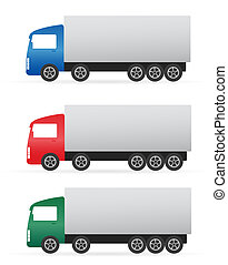 set of colorful heavy truck