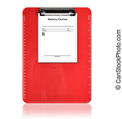 Red Medical Prescription Clipboard - A red, isolated...