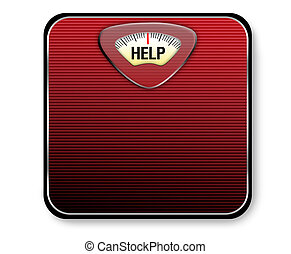Help Weight Scale - A red and black scale with the word help...