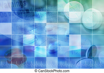 Blue Pharmaceutical Pill Background With Grid - A blue...