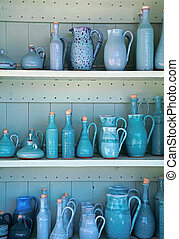 turquoise glazed ceramic pitchers , Greece - blue and...