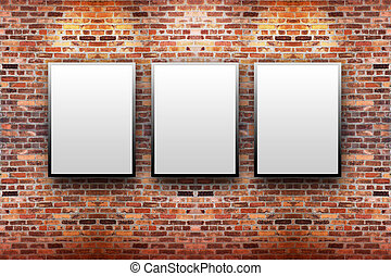 Brick Display Art Gallery with Frames - Three blank, white...