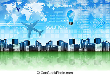 Abstract Business Background with City - A green and blue...