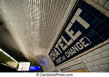 Metro Station Signs, Interior view in Paris