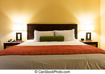 King size bed - Interior of a classic romance bedroom with...