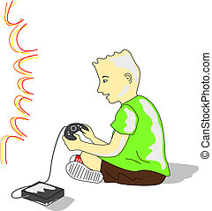 Kid Plays Videogame - Kid wearing a green tee and brown...