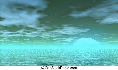 Full moon rising - 3D render - Ocean by green night and full...