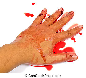 bloody hand isolated on white - bloody hand isolated on...