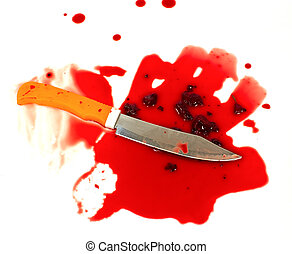 a knife smeared with blood. a murder weapon. symbolist crime