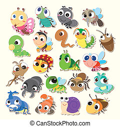 cartoon bug icon - Set of cute cartoon insects