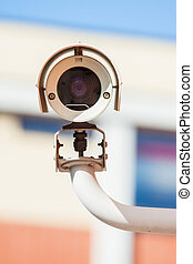 Security camera facing forward and scaning movement for...
