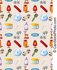 pet tool seamless pattern,cartoon vector illustration