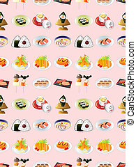 seamless Japanese food pattern,cartoon vector illustration