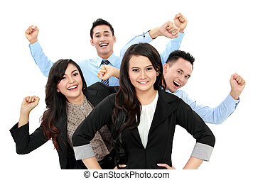 Excited group of business people isolated over white...