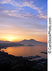 Sunrise over the Bay of Naples - Early morning shot of the...