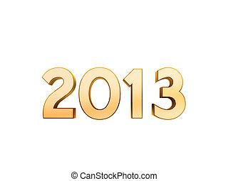 2013 new year golden symbol isolated on white background