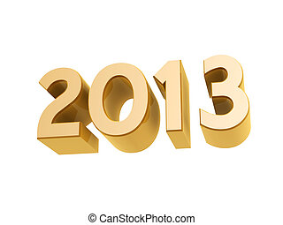 2013 new year golden symbol isolated on white background