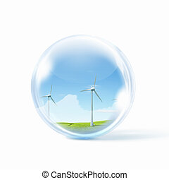 wind power - A group of wind turbines or windmills inside a...