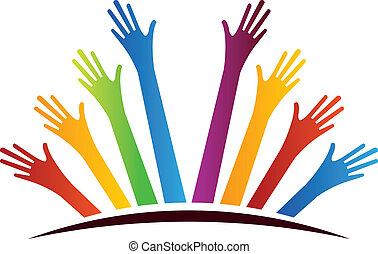 United Hands - Color Group of Hands over horizon