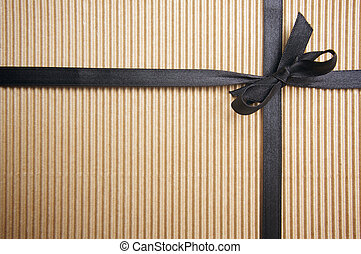Corrugated Gift Box with Black Satin Ribbon
