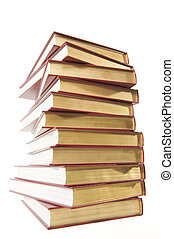 Tall Stack of Books - Stack of Books Isolated on a White...