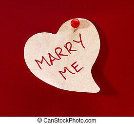 """Marry Me Heart Memo - """"Marry Me"""" written on white heart memo..."""