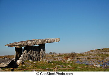 Poulnabrone Dolmen is an Ancient Stone Burial Tomb in the...
