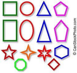 各種各樣, 鮮艷, 幾何學, 形狀