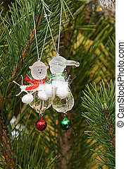 Christmas tree branches with snowmans