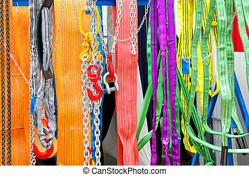Safety ropes - Bunch of safety ropes and climbing equipment