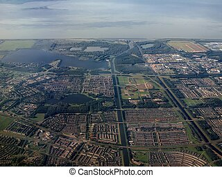 Aerial view of Almere - Buiten city in Holland - Flight over...
