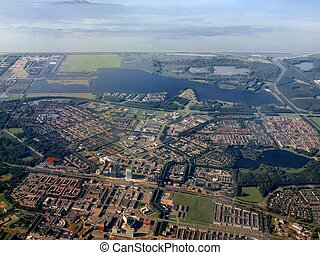 Aerial view of Almere city. Holland. Europe - Aerial flight...