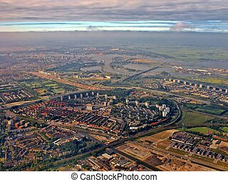 Aerial view of Diemen Amsterdam Holland