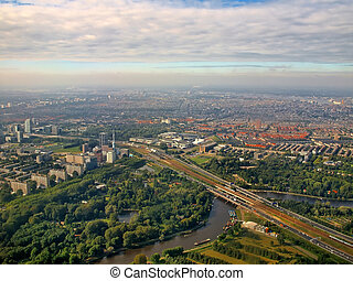 Aerial view of famous Amsterdam Zuid Holland.