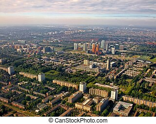 Aerial view of Buitenveldert West Amsterdam Holland