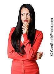 Young business woman in pensive pose - Half length portrait...