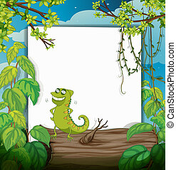 A chameleon and a white board - Illustration of a chameleon...