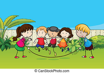 Playing kids - Illustration of playing kids in the garden